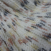 Knitted Women's Cream With Brown, Grey And Yellow Flecks Ribbed Triangular Shawl – Free Shipping