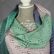 Knitted Women's Green And Blue Random Triangular Lace Effect Shawl – Free Shipping