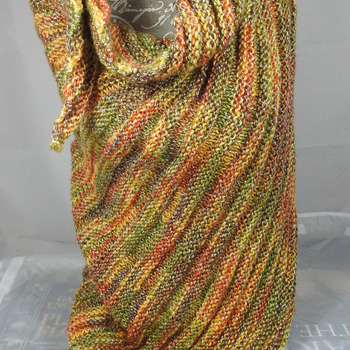 Knitted Women's Green, Orange, Brown And Yellow Random Ribbed Triangular Shawl – Free Shipping