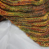 Knitted Women's Green, Orange, Brown And Yellow Random Ribbed Triangular Shawl – Free Shipping