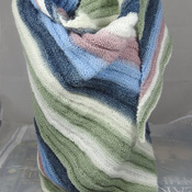 Knitted Women's Green, Pink, White And Blue Striped Ribbed Triangular Shawl – Free Shipping