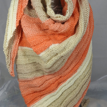 Knitted Women's Orange,Cream And Fawn Striped Ribbed Triangular Shawl – Free Shipping