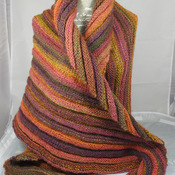 Knitted Women's Orange, Green, Purple And Pink Striped Ribbed Triangular Shawl – Free Shipping