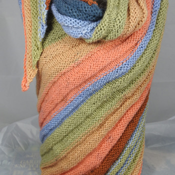 Knitted Women's Orange, Green, Blue And Brown Striped Ribbed Triangular Shawl – Free Shipping
