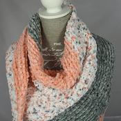 Knitted Women's Orange, Grey And White Striped Triangular Shawl – Free Shipping