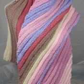 Knitted Women's Pink, Blue, Brown And Cream Striped Ribbed Triangular Shawl – Free Shipping