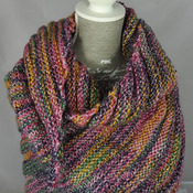 Knitted Women's Pink, Yellow, Grey And Green Random Ribbed Triangular Shawl – Free Shipping