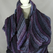 Knitted Women's Purple, Blue And Grey Striped Ribbed Triangular Shawl – Free Shipping