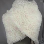 Knitted Women's Velour Cream With Pink Flecks Triangular Shawl – Free Shipping