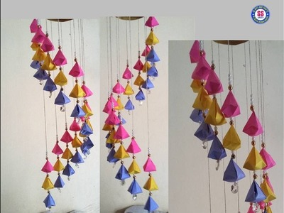 #Paperwindchime#Papercrafts#ssartscrafts | How to make wind chime out of paper | diy Wall hanging