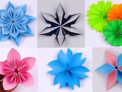6 Easy Paper Flowers | Flower Making | DIY paper crafts