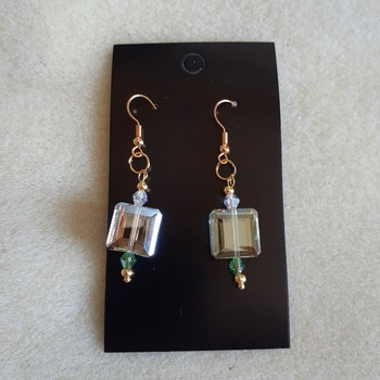 AB square beaded earrings