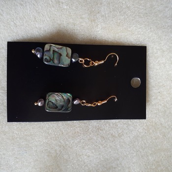 Abalone and freshwater purple pearl earrings