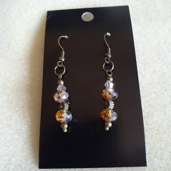Amber glass beaded earrings
