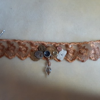Amber lace choker abstract
