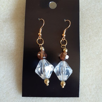 Bi-cone glass earrings