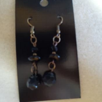 Black bead and shoe button earrings