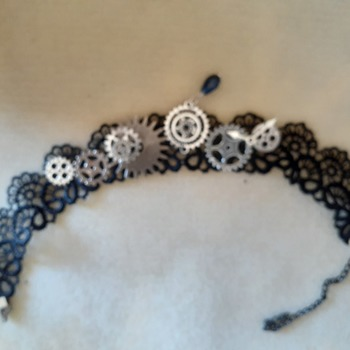 Black lace and gears choker