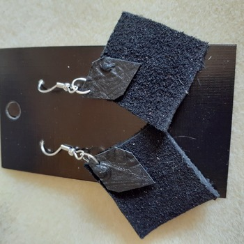 Black suede and print leather earrings