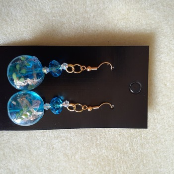 Blue floral glass beaded earrings