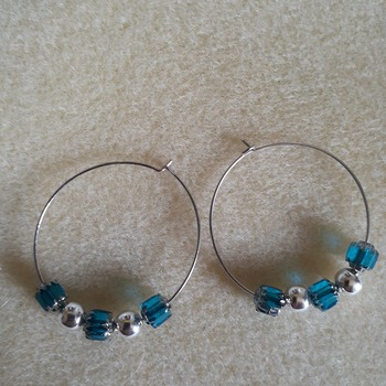 Blue glass beaded hoop earrings