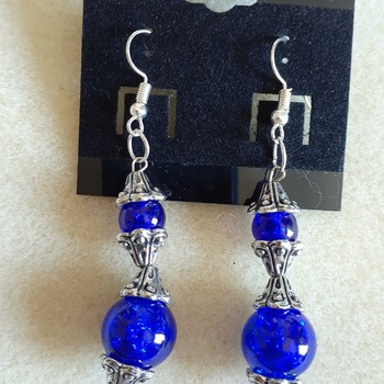 Bright blue beaded earrings