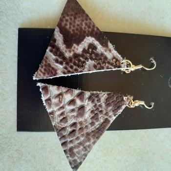 Brown snake skin print leather earrings