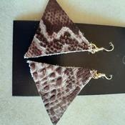 Brown snake skin print leather earrings