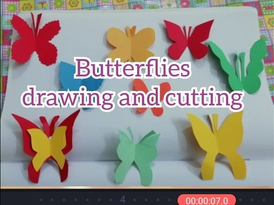 Butterflies Drawing and Cutting easy method with Colour Papers|| DIY || Origami Paper craft