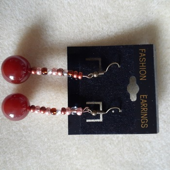 Cherry red dangling beaded earrings