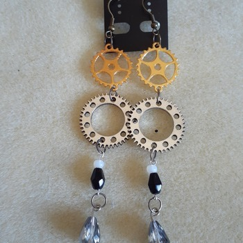 Cog and beaded earrings