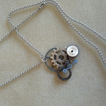 Cog and clock charm necklace