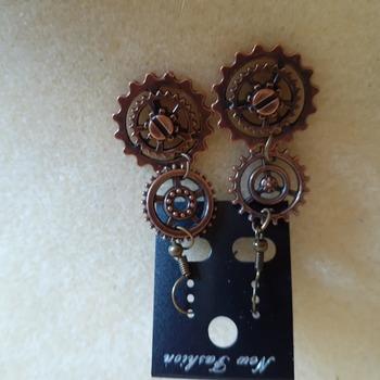 Copper gears earrings