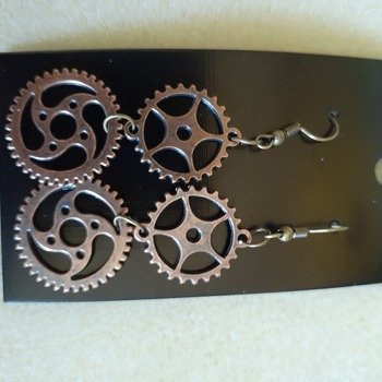 Copper gears earrings