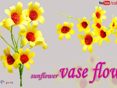 DIY Beautiful Sun Flower Wall Decor | Crafts Paper Flowers Easy for Kids | Colour Papers