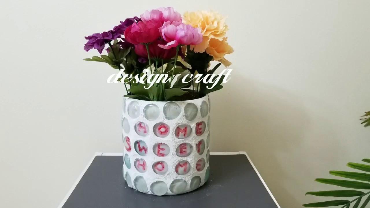 DIY Crafts Ideas: DIY Home decor flower pot using glass beads.