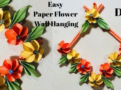 DIY | Easy and Beautiful Paper flower Wall hanging | Paper Crafts | CrazeeCrafts