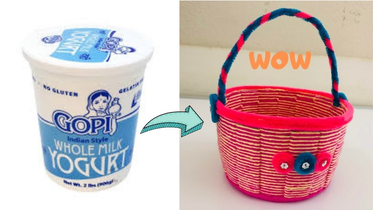 DIY|Easy Kids Basket from plastic box | Waste material Crafts| Best out of waste | Reuse Plastic box