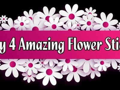 Diy Flower Stick | Making 4 Amazing Paper Flower Stick Part-6 | Tahiya Crafty Creation
