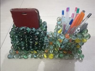 DIY: How to make marble mobile phone cum pen stand -best out of waste and useful craft