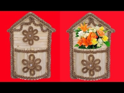 DIY Wall Hanging Flower Vase with Jute Rope & Popsicle sticks    Room Decor Jute Craft Idea