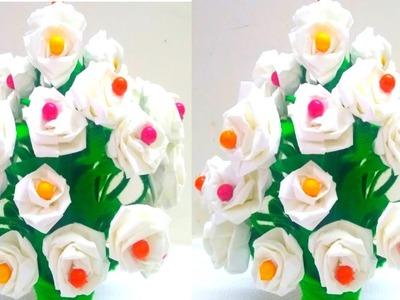 DIY-Woolen Guldasta New Ideas.Flower Pot.Waste Plastic bottle Guldassta.New craft.ROSE