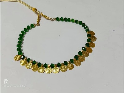 .EASY DIY KASU MALA MAKING.KASUMALA WITH CRYSTAL BEADS.COIN MALA.HANDMADE.