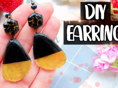 Fashion Earrings with Epoxy Resin and Gold Film ● DIY ● Polymer Clay