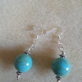 Faux turquoise bead drop earrings