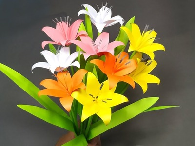 Flower with Paper: DIY Paper Flower Lily Making Idea!! Paper Stick Flower! Abigail Paper Crafts