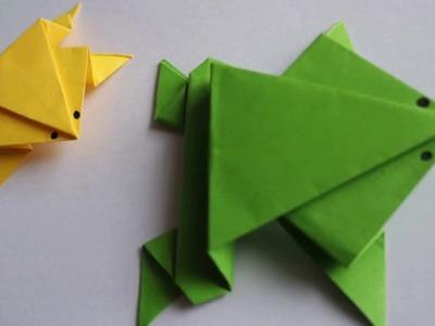 Folding paper Origami jumping frog. Origami for kids ضفدع نطاط من ورق