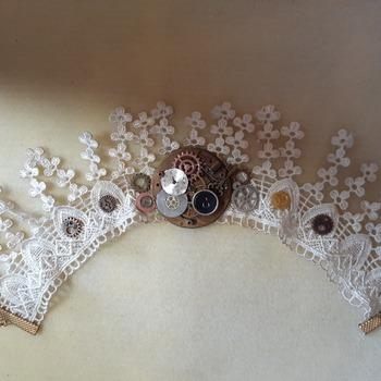 Fringed lace white choker