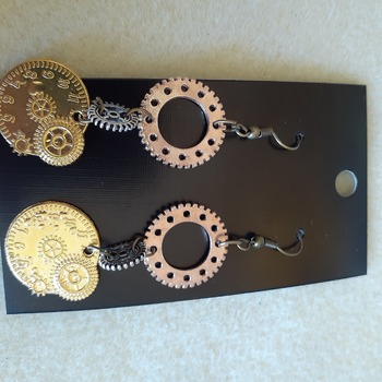 Golden clock charm earrings