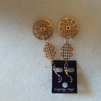 Golden gears abstract earrings